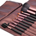 Portable Beauty Cosmetic Makeup Brush Set with Brown Bag (10-Piece Pack)