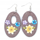Stylish Oval Shaped Flower Polymer Clay Earrings (Pair / Random Color)