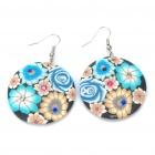 Stylish Round Shaped Flower Pattern Polymer Clay Earrings (Pair / Random Color)