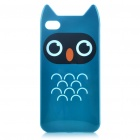 Cute Cartoon Owl Style Protective TPU Case with Screen Protector Guard for iPhone 4/4S - Blue Green