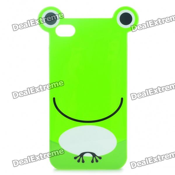 Cute Cartoon Frog Style Protective TPU Case with Screen Protector Guard for Iphone 4/4S - Green cartoon pattern matte protective abs back case for iphone 4 4s deep pink