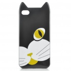 Cute Cartoon Cat Style Protective TPU Case with Screen Protector Guard for Iphone 4/4S - Black