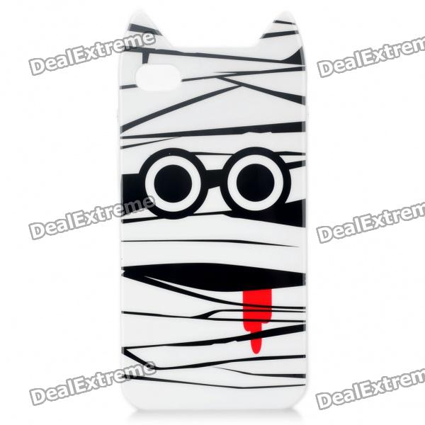 Cute Mummy Style Protective TPU Case with Screen Protector Guard for Iphone 4/4S - White + Black mummy page 4