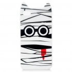 Cute Mummy Style Protective TPU Case with Screen Protector Guard for iPhone 4/4S - White + Black