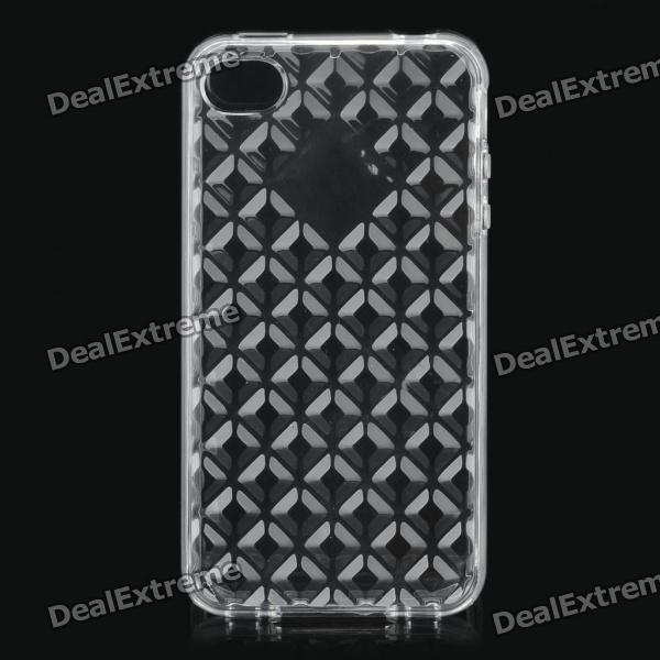 Diamond Pattern Protective TPU Case for Iphone 4/4S - Transparent White transparent tpu material spindrift pattern and diamond design protective back cover case for iphone 6 plus 5 5 inches