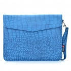 Protective Crocodile Grain Pattern PU Leather Case Bag for iPad 2 - Blue