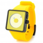 Cool Simple Point Pointers Rubber Band Wrist Watch - Yellow + Black (1 x 377S)