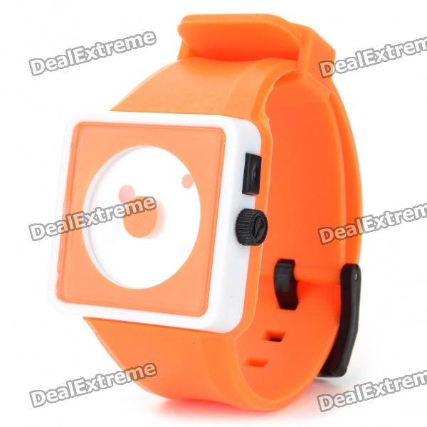 Cool Simple Point Pointers Rubber Band Wrist Watch - Orange + white (1 x 377S)
