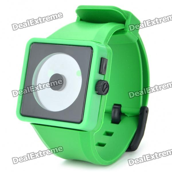Cool Simple Point Pointers Rubber Band Wrist Watch - Green + Black (1 x 377S)