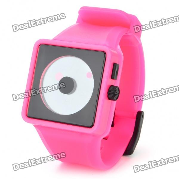 Cool Simple Point Pointers Rubber Band Wrist Watch - Deep Pink + Black (1 x 377S)