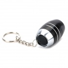 Water Resistant White LED Camping Flashlight Keychain - Black + Silver