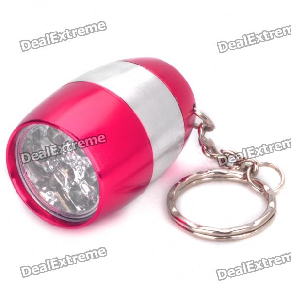 Water Resistant Mini 6-LED White Light Camping Flashlight Keychain - Deep Red + Silver (2 x CR2032)