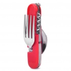 Compact Portable Stainless Steel Spoon Fork Multi-Tools Knife - Red