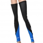 Designer's Outdoor Cycling Leg Warmers - Black + Blue (Size L / Pair)