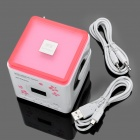 "Stylish 1.0"" LCD MP3 Speaker Music Player with FM / USB / SD (Deep Pink + White)"