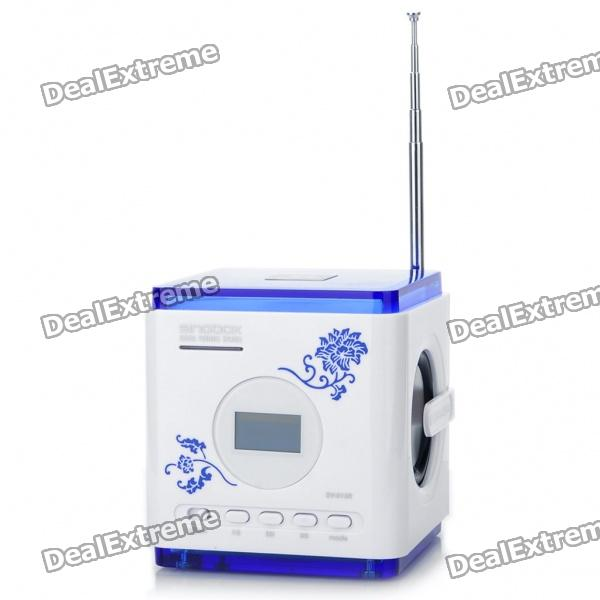 "Stylish 1.0"" LCD MP3 Speaker Music Player with FM / USB / SD (Blue + White)"