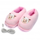USB Powered Plush Feet Warmer Slippers - Pink (35'C)