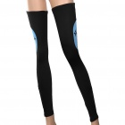 Designer's Outdoor Cycling Leg Warmers - Black + Blue (Size M / Pair)