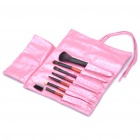 Portable Beauty Cosmetic Makeup Brush Set with Pink Bag (7-Piece Pack)