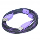 High Speed USB 2.0 Male to Female Extension Cable - Purple + Black (1.5M Length)