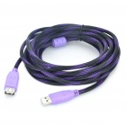High Speed USB 2.0 Male to Female Extension Cable - Purple + Black (5M Length)