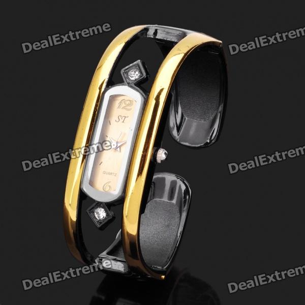 Women's Elegant Hollow Out Bracelet Style Rhinestone Wrist Watch (1 x 377)