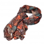 Double Layer Skull Pattern Long Soft Cotton Scarf Shawl - Deep Coffee