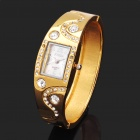 Fashion Bracelet Style Shining Rhinestone Wrist Watch - Golden (1 x 377)