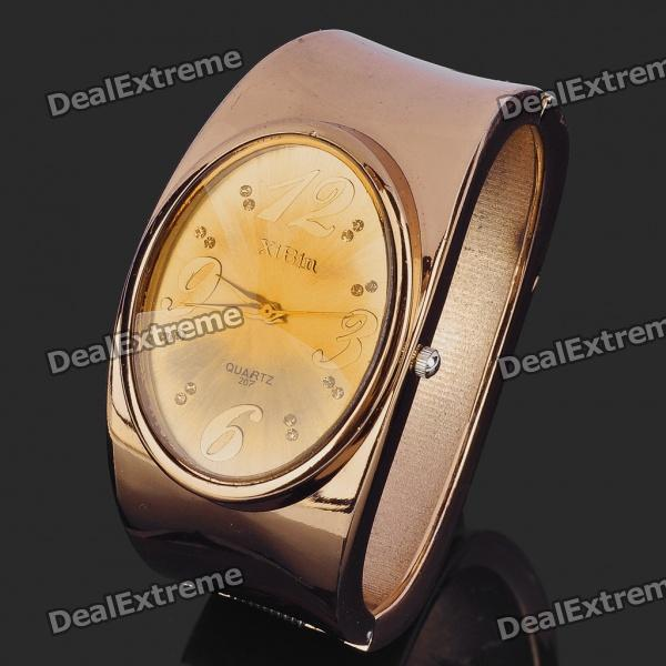 Elegant Bracelet Style Wrist Watch - Coffee Golden(1 x 377) stylish bracelet band quartz wrist watch golden silver 1 x 377