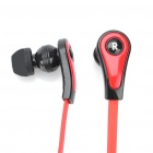 Trendy Mini In-ear Style Flat Cable Stereo Earphone with Microphone - Red + Black