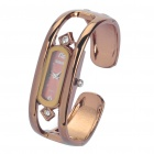 Women's Elegant Hollow Out Bracelet Style Rhinestone Wrist Watch - Gold Brown (1 x 377)