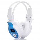 Sports Stereo Rechargeable MP3 Player Headset w/ TF / Line In / FM - White + Blue