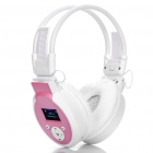 Sports Stereo Rechargeable MP3 Player Headset w/ TF / Line In / FM - White + Pink
