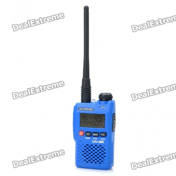 BAOFENG UV-3R 1.4 LCD 2W 136~174 / 400~470Mhz Dual Band Walkie Talkie - Blue baofeng uv 5ra 1 5 lcd 5w dual band 128 ch walkie talkie w 1 led flashlight blue