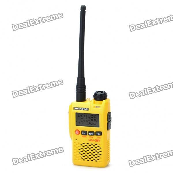 "BAOFENG UV-3R 1.4"" LCD 2W 136~174 / 400~470MHz Dual Band Walkie Talkie - Yellow"