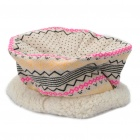 Knitted Woolen Yarn Geometric Pattern Cap / Hat - Yellow + Beige