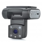 720P 3.0MP CMOS Wide Angle Car DVR Camcorder w/ 4-LED IR Night Vision / AV-Out / TF - Black