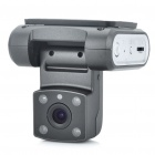 720P 3.0MP CMOS Wide Angle Car DVR Camcorder w/ 4-LED IR Night Vision / AV-Out / TF - Dark Grey