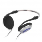 Stylish Headphone Headset w/ Microphone - Black +Silver (3.5mm Jacks / 224cm-Cable)