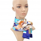 Fashion Africa Pattern Multi-Function Square Velvet Scarf - Blue + Yellow + White