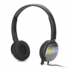 Stylish Headphone Headset w/ Microphone - Black (3.5mm Jacks / 207cm-Cable)