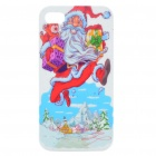 Protective Merry Christmas Santa Claus Pattern ABS Case for Iphone 4S (Red + Blue)
