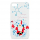 Merry Christmas Santa Claus Pattern Protective Case for Iphone 4S (White + Red)