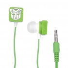 Stylish Transformer Pattern In-Ear Earphone - Green (3.5mm-Jack / 104cm-Cable)