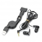 Black - Flachkabel Kopfhörer + Retractable 3-in-1 USB-Datenkabel für iPhone 4S Set