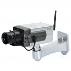 Realistic Dummy Surveillance Security Camera w/ Blinking Red LED Light - Silver (3 x AA)