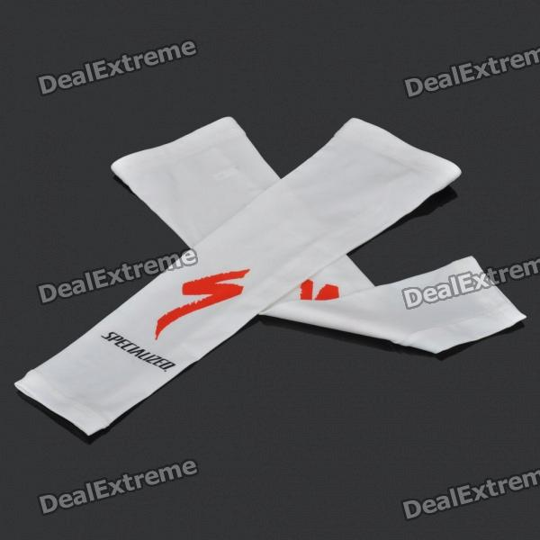 Specialized Outdoor Sports Bicycle Cycling Arm Sleeves Covers - White (Pair / Size L)