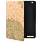 Sea Charts Pattern Protective Plastic Holder PU Leather Case w/ Smart Cover for iPad 2 - Brown