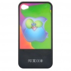 Flashing Multicolored LED Protective Plastic Back Case for iPhone 4 - Black + Green (1 x CR2016)