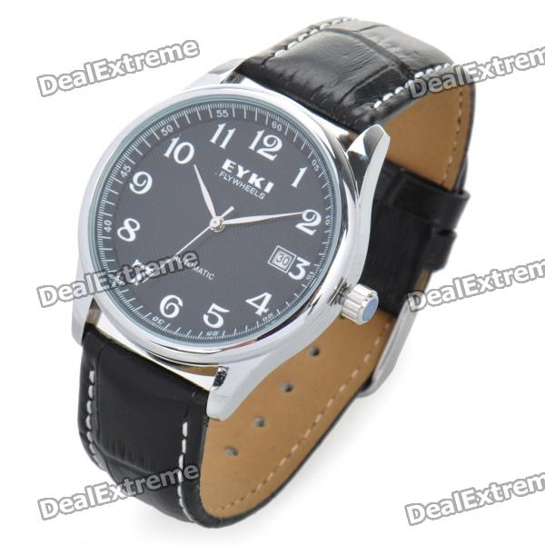 EYKI Stylish Self-Winding Mechanical Wrist Watch w/ Date Display - Black